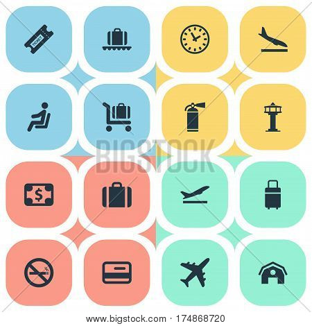 Vector Illustration Set Of Simple Airport Icons. Elements Alighting Plane, Seat, Baggage Cart And Other Synonyms Smoke, Seat And Control.