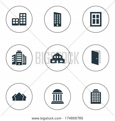 Vector Illustration Set Of Simple Architecture Icons. Elements Floor, Residential, Gate And Other Synonyms Shelter, Museum And Residential.