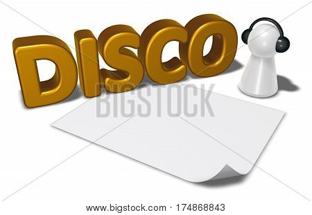 disco tag blank white paper sheet and pawn with headphones - 3d rendering