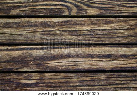 Dirty wood background. Natural wood texture with horizontal lines. Wooden background for banner. Timber texture closeup. Horizontal wooden planks of floor backdrop photo. Natural material for banner