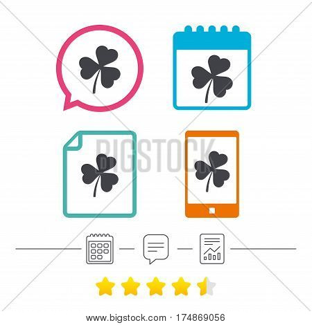 Clover with three leaves sign icon. Trifoliate clover. Saint Patrick trefoil symbol. Calendar, chat speech bubble and report linear icons. Star vote ranking. Vector