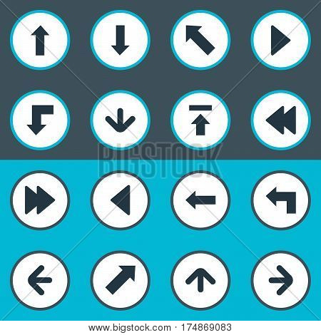 Vector Illustration Set Of Simple Arrows Icons. Elements Upward Direction, Left Direction, Left Direction And Other Synonyms Pointing, Ahead And Direction.