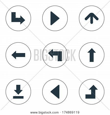 Vector Illustration Set Of Simple Arrows Icons. Elements Upward Direction , Upward Direction , Right Landmark Synonyms Direction, Increasing And Down.
