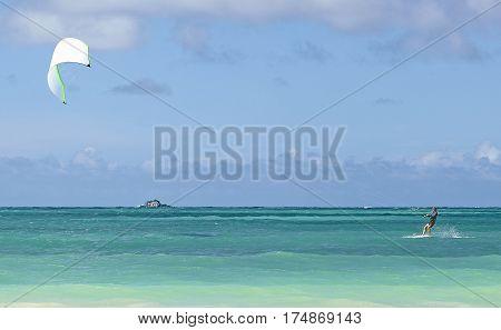 Kailua Hawaii USA - August 1 2016: Man kiteboarding in Kailua Bay Hawaii