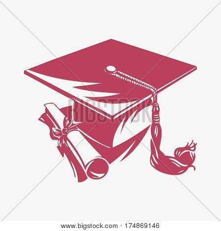 Graduation academic square cap and diploma on white background vector illustration