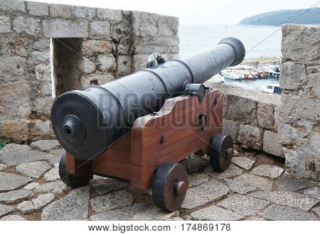 Cannon in the rampant in castle of Dubrovnik in Croatia