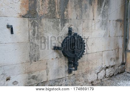 Detail of the drawbridge in old town of Dubrovnik in Croatia
