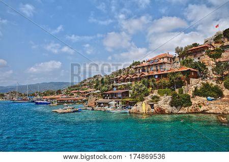 Kalekoy Antalya Turkey - 28 august 2014: Kalekoy or Simena seaside village In Turkish island of Kekova Demre of Antalya.