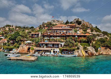Kalekoy Antalya Turkey - 28 august 2014: The village of Kalekoy or Simena in the Turkish island of Kekova.