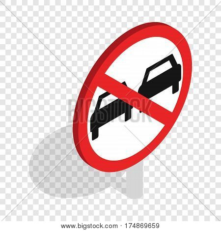 No overtaking sign isometric icon 3d on a transparent background vector illustration