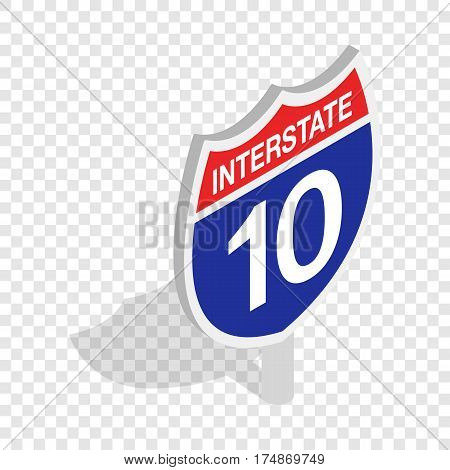 Interstate highway sign isometric icon 3d on a transparent background vector illustration