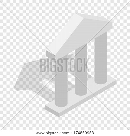 Building facade with three pillars isometric icon 3d on a transparent background vector illustration