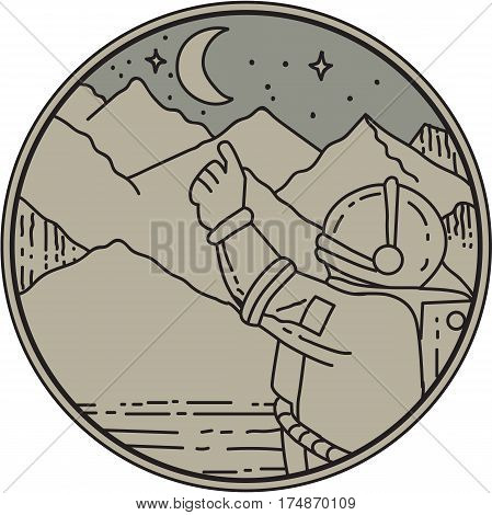 Mono line style illustration of an astronaut pointing at moon and stars with mountain in the background set inside circle.