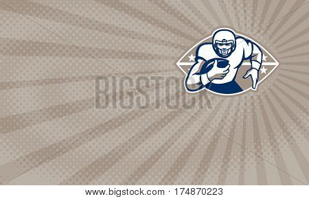 Business card showing Illustration of an american football gridiron running back player running with ball facing front done in retro style.