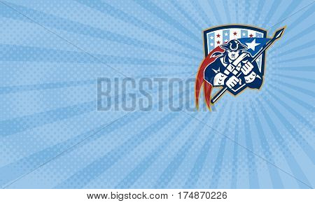 Business card showing Illustration of an American Patriot brandishing holding a flag set inside crest shield with USA stars and stripes.