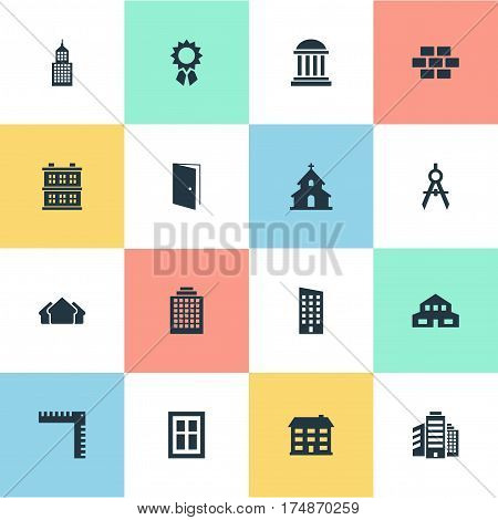 Vector Illustration Set Of Simple Construction Icons. Elements Glazing, Academy, Floor And Other Synonyms Downtown, Architecture And Edifice.
