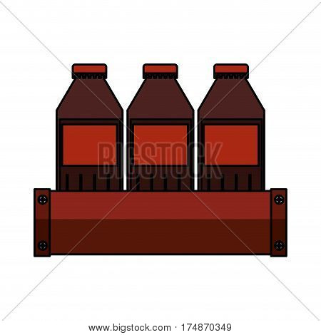 soda bottles in basket isolated icon vector illustration design