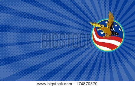 Business card showing Illustration of a bald eagle flying with american USA stars stripes flag set inside circle done in retro style.