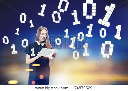 Woman With Laptop, Zeros And Ones.
