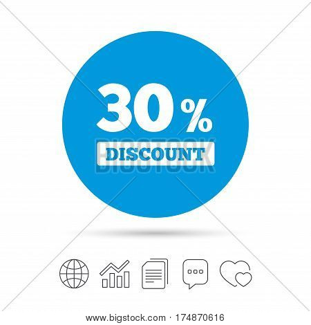 30 percent discount sign icon. Sale symbol. Special offer label. Copy files, chat speech bubble and chart web icons. Vector