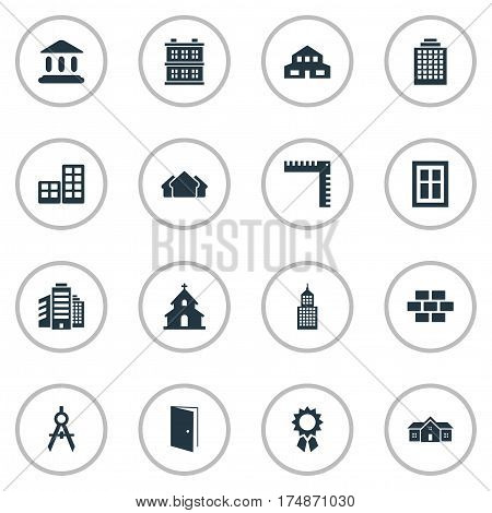 Vector Illustration Set Of Simple Structure Icons. Elements Length, Residence, Block And Other Synonyms Reward, Gate And Direction.
