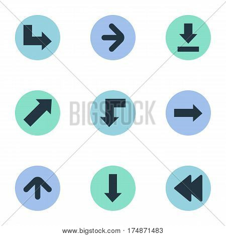 Vector Illustration Set Of Simple Indicator Icons. Elements Rearward, Let Down, Reduction And Other Synonyms Upward, Decline And Down.