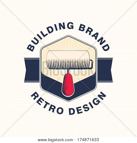 Retro logo of the building and artist brand. Vector illustration of paint roller in old style