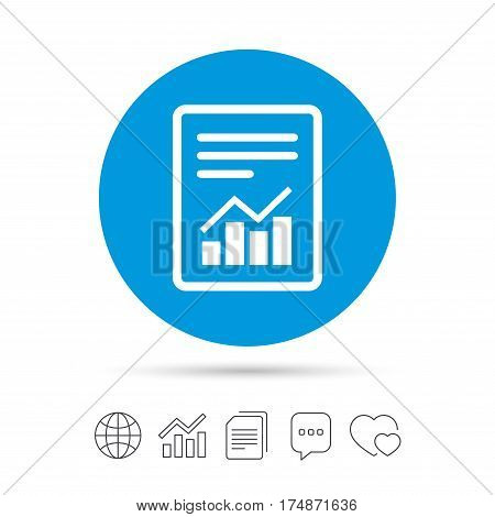 Text file sign icon. Add File document with chart symbol. Accounting symbol. Copy files, chat speech bubble and chart web icons. Vector
