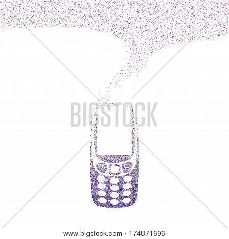 A whirlwind of small dots becomes old cell phone. Violet polka vector illustration