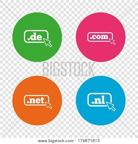 Top-level internet domain icons. De, Com, Net and Nl symbols with cursor pointer. Unique national DNS names. Round buttons on transparent background. Vector