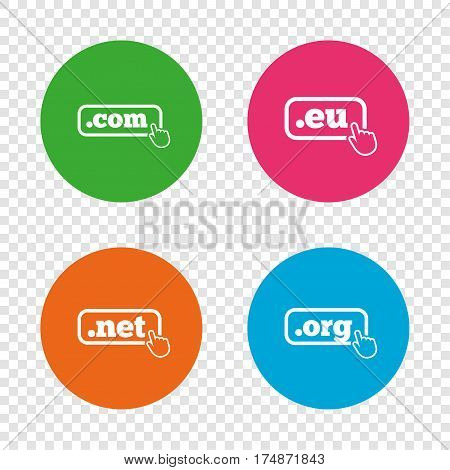 Top-level internet domain icons. Com, Eu, Net and Org symbols with hand pointer. Unique DNS names. Round buttons on transparent background. Vector