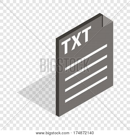 Document file format TXT isometric icon 3d on a transparent background vector illustration