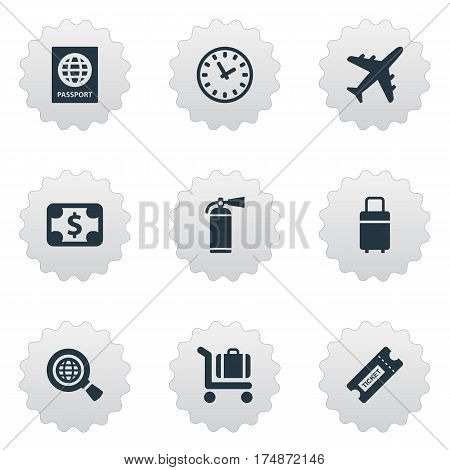 Vector Illustration Set Of Simple Plane Icons. Elements Certificate Of Citizenship, Travel Bag, Plane And Other Synonyms Citizenship, Time And Dollar.