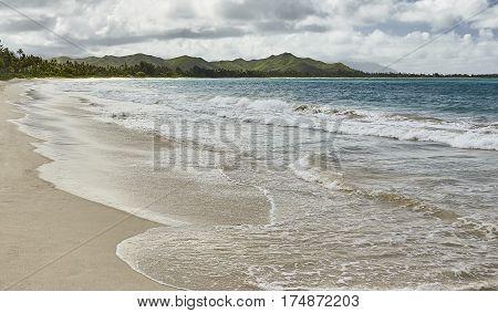 ocean shores and beach at Kailua, Hawaii