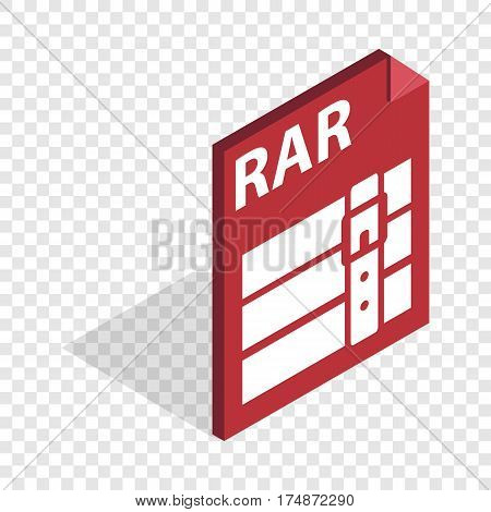 Archive RAR isometric icon 3d on a transparent background vector illustration poster