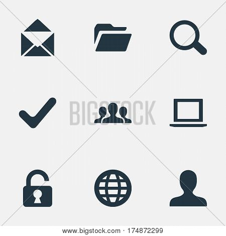 Vector Illustration Set Of Simple Application Icons. Elements Community, Notebook, Web And Other Synonyms Folder, Notebook And Dossier.