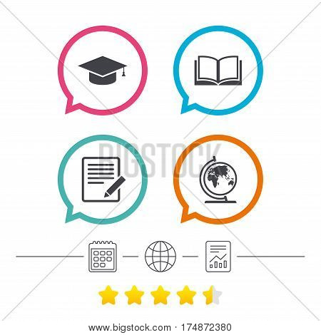 Pencil with document and open book icons. Graduation cap and geography globe symbols. Learn signs. Calendar, internet globe and report linear icons. Star vote ranking. Vector