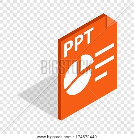 PPT file extension isometric icon 3d on a transparent background vector illustration