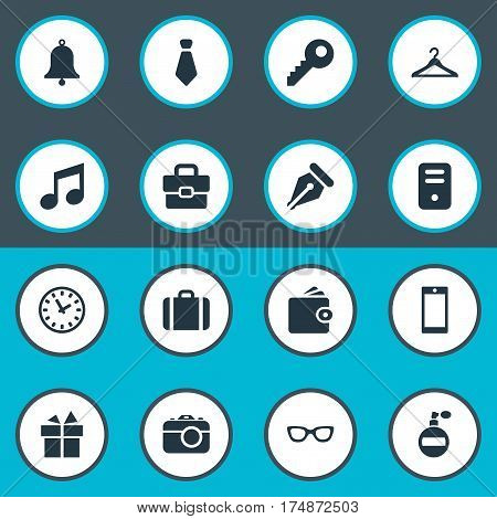 Vector Illustration Set Of Simple  Icons. Elements Cravat, Time, Password And Other Synonyms Melody, Processor And Photographing.