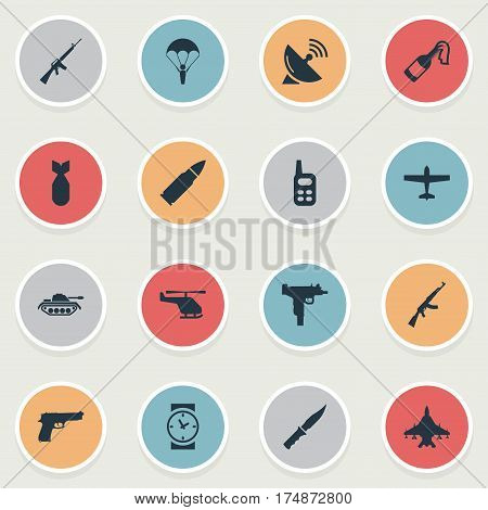 Vector Illustration Set Of Simple Terror Icons. Elements Watch, Rifle Gun, Firearm And Other Synonyms Antenna, Force And Dagger.