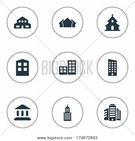 Vector Illustration Set Of Simple Architecture Icons. Elements Flat, Shelter, Residential And Other Synonyms Premises, Hut And Flat.
