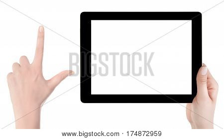 Hand Holding A Tablet Computer With White Screen. Woman Hands Showing Empty Screen Of Modern Digital