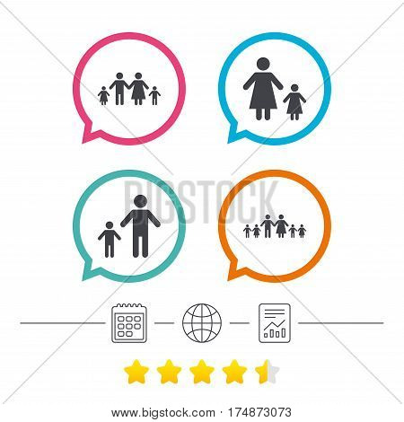 Large family with children icon. Parents and kids symbols. One-parent family signs. Mother and father divorce. Calendar, internet globe and report linear icons. Star vote ranking. Vector