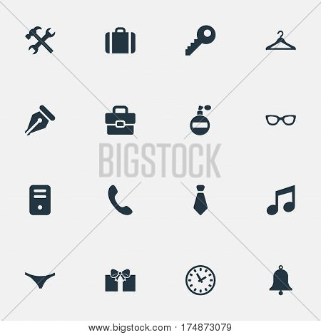 Vector Illustration Set Of Simple  Icons. Elements Cravat, Ink Pencil, Business Bag And Other Synonyms Melody, Key And Eyeglasses.