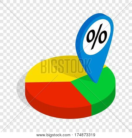 Pie chart isometric icon 3d on a transparent background vector illustration