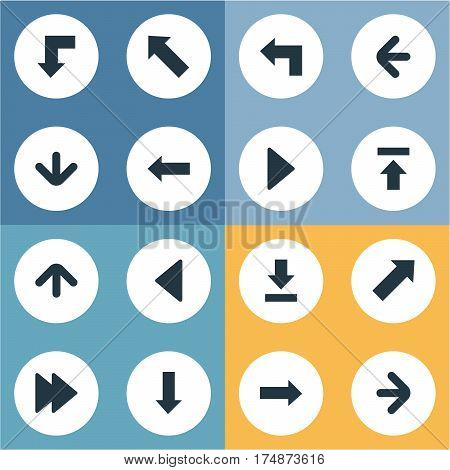 Vector Illustration Set Of Simple Pointer Icons. Elements Right Direction, Downwards Pointing, Pointer And Other Synonyms Arrow, Upward And Upper.
