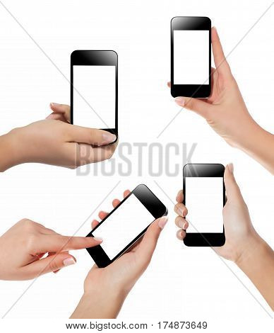 Hand Holding Smartphone Blank Screen Isolated. Hand Using Smartphone On White. Hand Using Smartphone