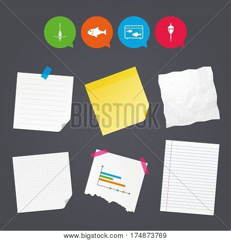 Business paper banners with notes. Fishing icons. Fish with fishermen hook sign. Float bobber symbol. Aquarium icon. Sticky colorful tape. Speech bubbles with icons. Vector