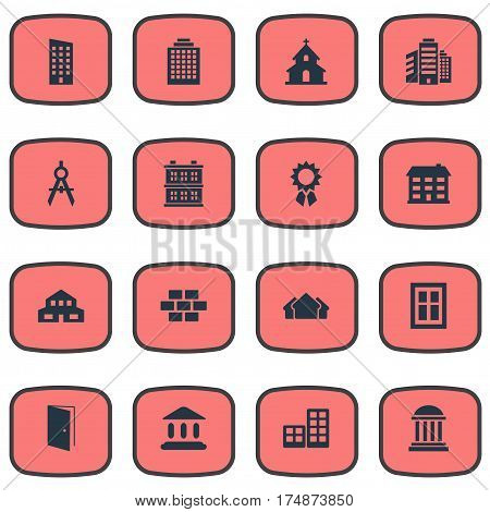 Vector Illustration Set Of Simple Construction Icons. Elements Block, Gate, Residential And Other Synonyms Stone, Windows And Flat.