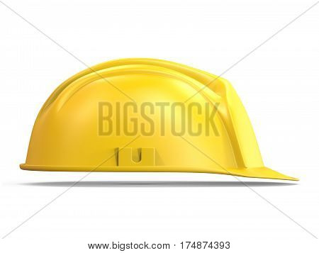 Yellow Safety Helmet Side View 3D